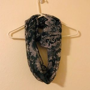Kimberly C Teal Patterned Infinity Scarf